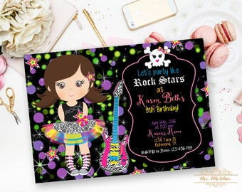 Girl Rock Star Invitation, Tutu Rock Star Birthday Invitation- YOU PRINT