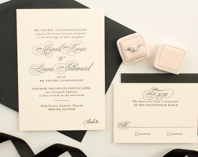 Pink and Black Wedding Invitations, Letterpress Invites on Pink Paper, Classic Invitations for elegant weddings | DEPOSIT | Timeless