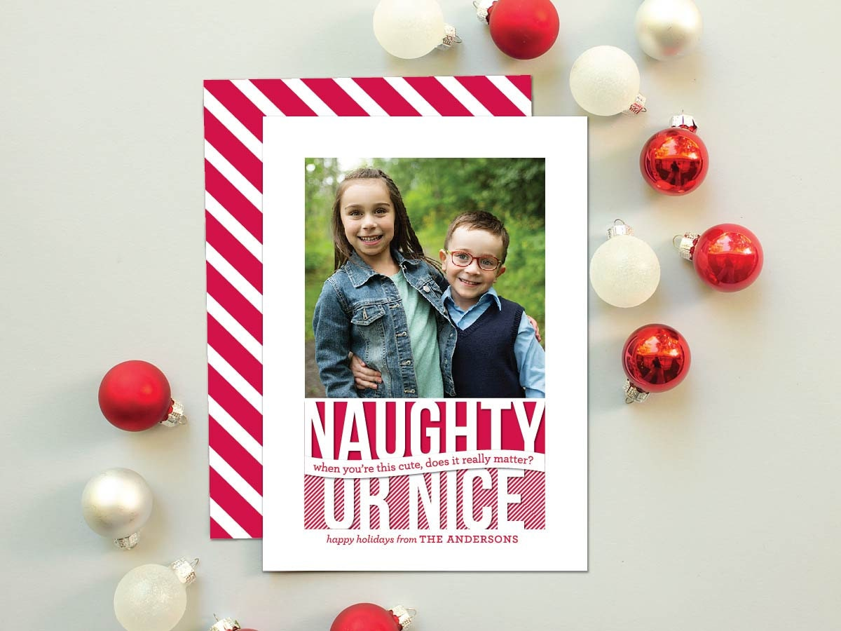 Naughty Or Nice Christmas Cards Funny Holiday By