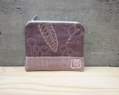 Cute little cosmetic zipper pouch, small wallet, hand printed, hand stamped fabric, bird