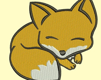 sleeping fox  Machine Embroidery Design