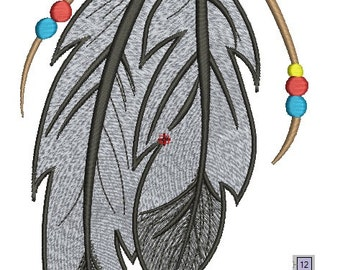 Native American style Feathers - machine embroidery Design