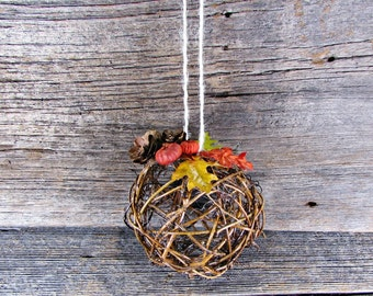Autumn Fall Kissing Ball Centerpiece, Flower Girl Pomander, Twig Grapevine Ball, Leaf Pine Cone Pumpkin Decor, Rustic Wedding Decorations