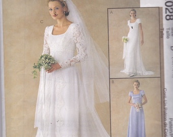 McCalls 2028 Vintage Pattern Wedding Gown In 3 Variations Size 12,14,16 UNCUT