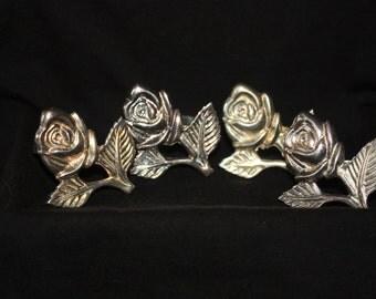Vintage Set of 4 Silver Plated Rose Design Napkin Rings