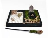 Mini Zen Garden // Halloween Decoration // Desk Accessory // Skeleton Bones // Cemetery // Skull // Tombstone // DIY Zen Kit // Office Decor