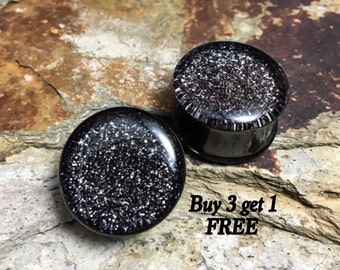 Aged Pewter Glitter Plugs, gauges   6g, 4g, 2g, 0g, 00g, 7/16, 1/2, 9/16, 5/8, 3/4, 7/8, 1""
