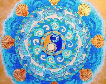 "Original Beach Decor Acrylic Painting 12"" x 12"" Teal Blue Gold"