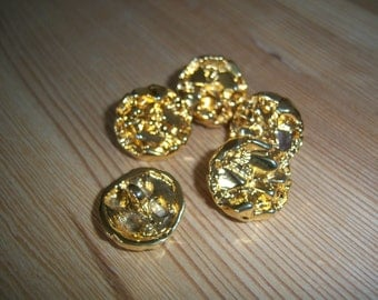5 Gold Tone Vintage Metal Buttons from 1980s.