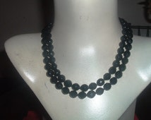 ON SALE 60's Miriam Haskell Jet Glass Beads
