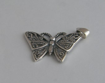Unique Filigree Butterfly Pendant made of Oxidized.925 Sterling Silver