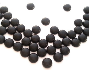 "6mm Matte Black Round Dome Hot Fix  Studs (approx. 1/4"")  Fix (HotFix) Iron On or Glue On Flat Back Studs/ 100 pcs."