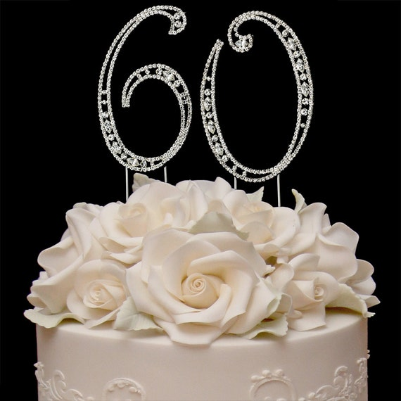 60th Birthday Crystal Cake Toppers Silver Bling Birthday Cake
