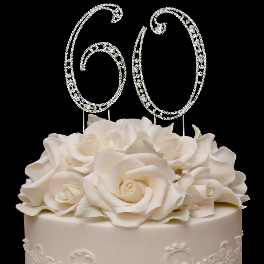 60th birthday crystal cake toppers silver bling birthday cake for 60th birthday cake decoration