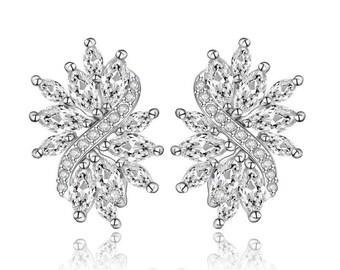 Bridal Earrings, Cubic Zirconia Wedding Earrings, Wedding Bridal Jewelry, Statement Drop Earrings, Bridal Accessories Style-591