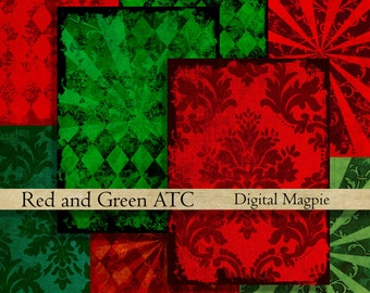 Red and Green Christmas ATC digital collage sheet backgrounds instant download printable tags for scrapbooking crafts and altered art