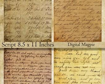 Vintage Script digital paper pack printable scrapbook old paper background grunge aged wrinting instant download  8.5 x 11