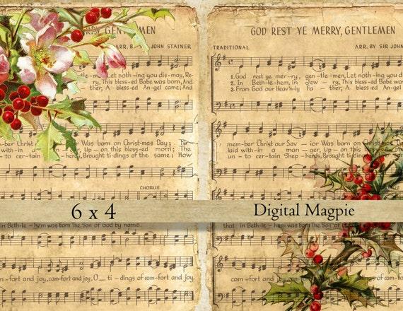 Christmas Carol Printable: Christmas Music Digital Collage Sheet Shabby Vintage Images On