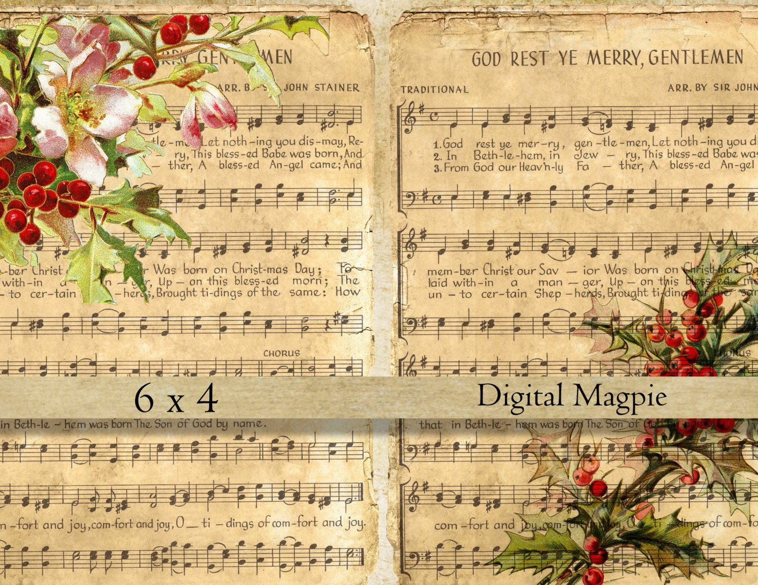 Christmas music digital collage sheet shabby vintage images on old ...