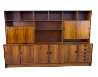 8ft Rosewood Wall Unit Danish Modern Mid Century