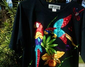vintage victoria harbour embellished short sleeve top// sequenced tropical hawaiian tee// black scoop neck oversized tee