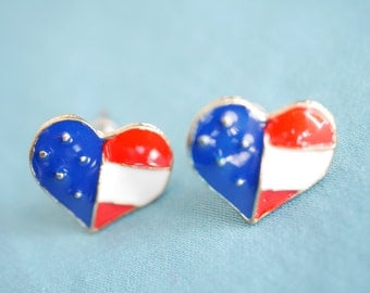 American flag heart earring studs