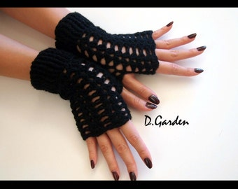 Hand Knitted Short Stylish Acrylic black fingerless arm warmers gloves