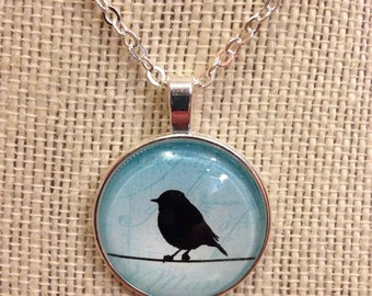 "22"" Blue Cabochon Bird On A Branch Pendant Necklace"