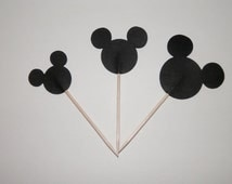 Mickey Mouse Cupcake Picks , Cake Pick , Party favor 24 pieces