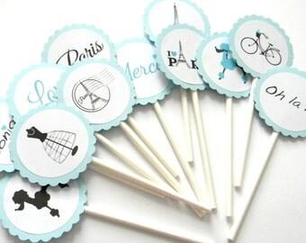 12 Blue Paris Cupcake Toppers, Paris Toppers, Paris Birthday, Tea Party, French Birthday, Going Away Party, Paris Theme