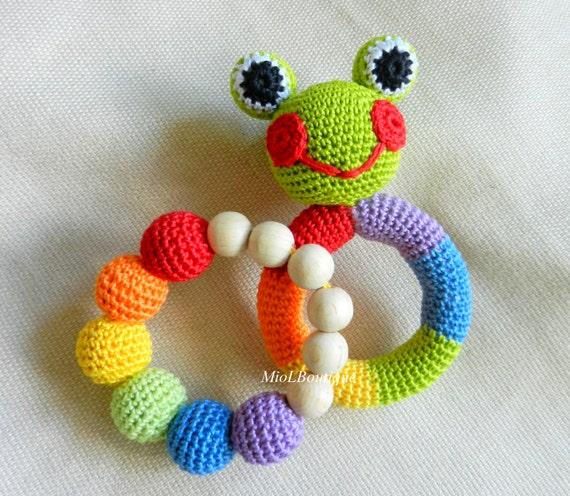 Baby rassel satz häkeln spielzeug rainbow greifen und