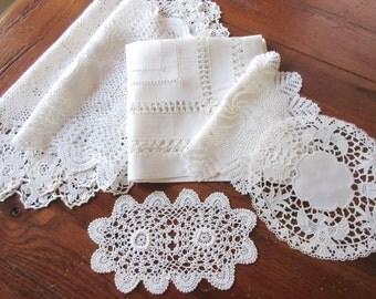 Vintage Doilies,  Crochet Napkins , Table  Linen , Antique Lace Doilies - set of 6.