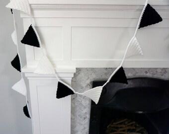 Crochet Bunting Garland Banner in Black & White