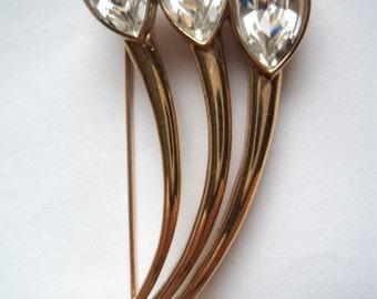 Vintage Unsigned Very Pretty Goldtone Three Clear Rhinestone Flowers Brooch/Pin