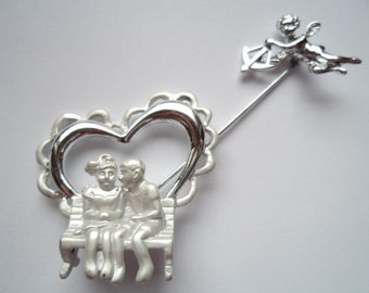 Vintage Signed AJC Silvertone/Matt Couple in Heart with Cupid Stick Pin