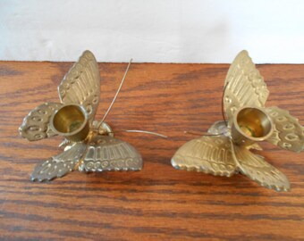 Solid Brass Butterfly Candle Holders Set of Two