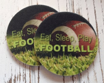 Set of two super absorbent football car coasters for your cars cup holder - Green Product - Contains an Antibacterial Agent