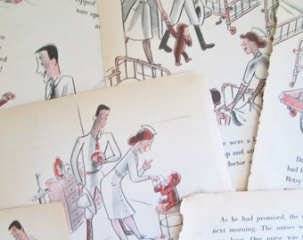 Vintage Curious George 16 Pages Curious George Goes to the Hospital Children's Book Paper for Crafts