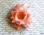 Peach on Peach Shabby Hair Clip: toddlers hair clip,girls hair clip,teens & adults hair clip or newborn headband
