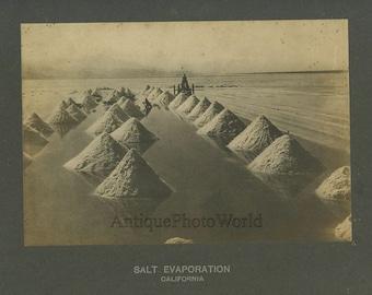 Salt evaporation field antique photo California