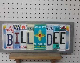 License Plate Sign License Plate letter Art Picture Home Deco License Plate Letter Sign Customize