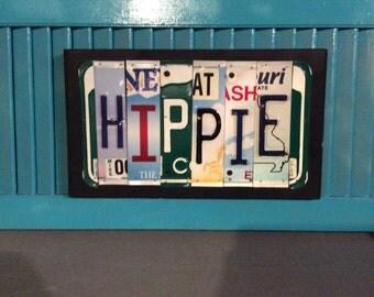 License Plate Sign License Plate letter Art Picture Home Deco HIPPIE License Plate Letter Sign License Plate Art