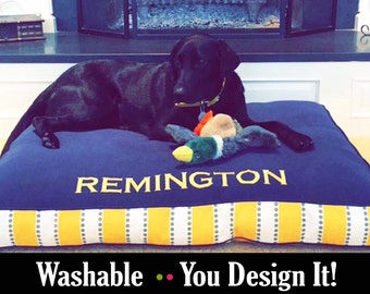 Personalized Dog Bed with Foam or Fiberfill Insert   Embroidery your Dogs Name   High Quality