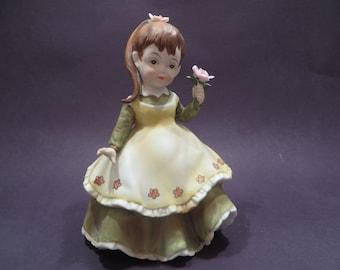 Vintage Lefton Girl in Green Dress Porcelain Figurine