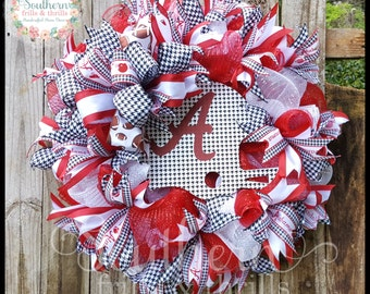 Alabama Deco Mesh Wreath, Alabama Wreath, Deco Mesh Wreath, Elephant Wreath, UA Wreath, Football Wreath, Houndstooth Wreath, Bama Wreath