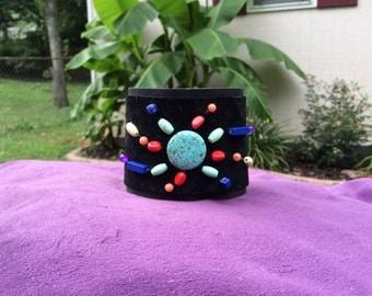 Women's black leather beaded cuff bracelet