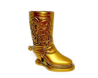 Brass Cowboy Boot with Spur, Country Western Decor, Brass Boot, Metal Cowboy Boot, Gift for Cowboy Cowgirl