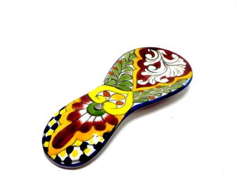 Spoonrest, Red Clay Lead Free Spoonrest, Hand Painted Spoonrest, Colorful Mexican Design Spoonrest, Kitchen Decor