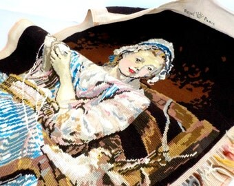 Large Completed Needlepoint, Victorian Woman with Yarn, Large Tapestry, Completed Vintage Needlepoint, Lovely Colors, Exceptional Details