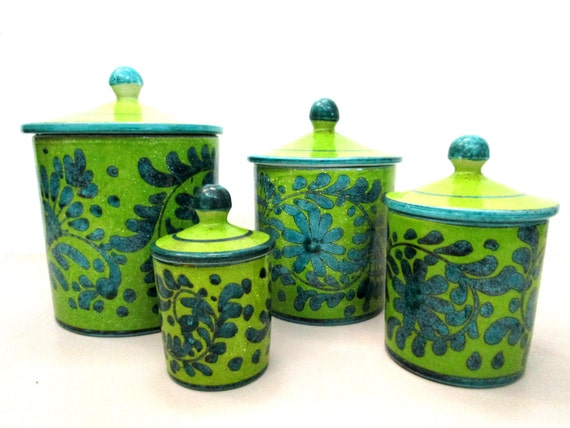 Vintage Canister Set, Italy Pottery Canister Set, 4pc Canister Set, Kitchen Storage, Mod Green and Blue, Made in Italy
